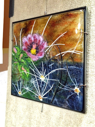 Cactus Flower Dimensional Glass Wall Panel
