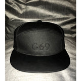 G69 Leather Peak Snapchat - Black / Black