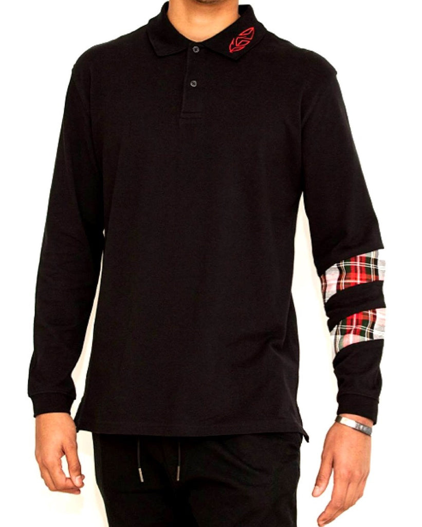 Black Long Sleeve Polo Shirt with Tartan Sleeve Detail
