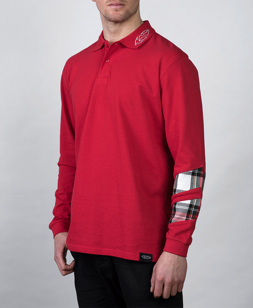 Long Sleeve Polo Shirt with Tartan Sleeve Detail Front