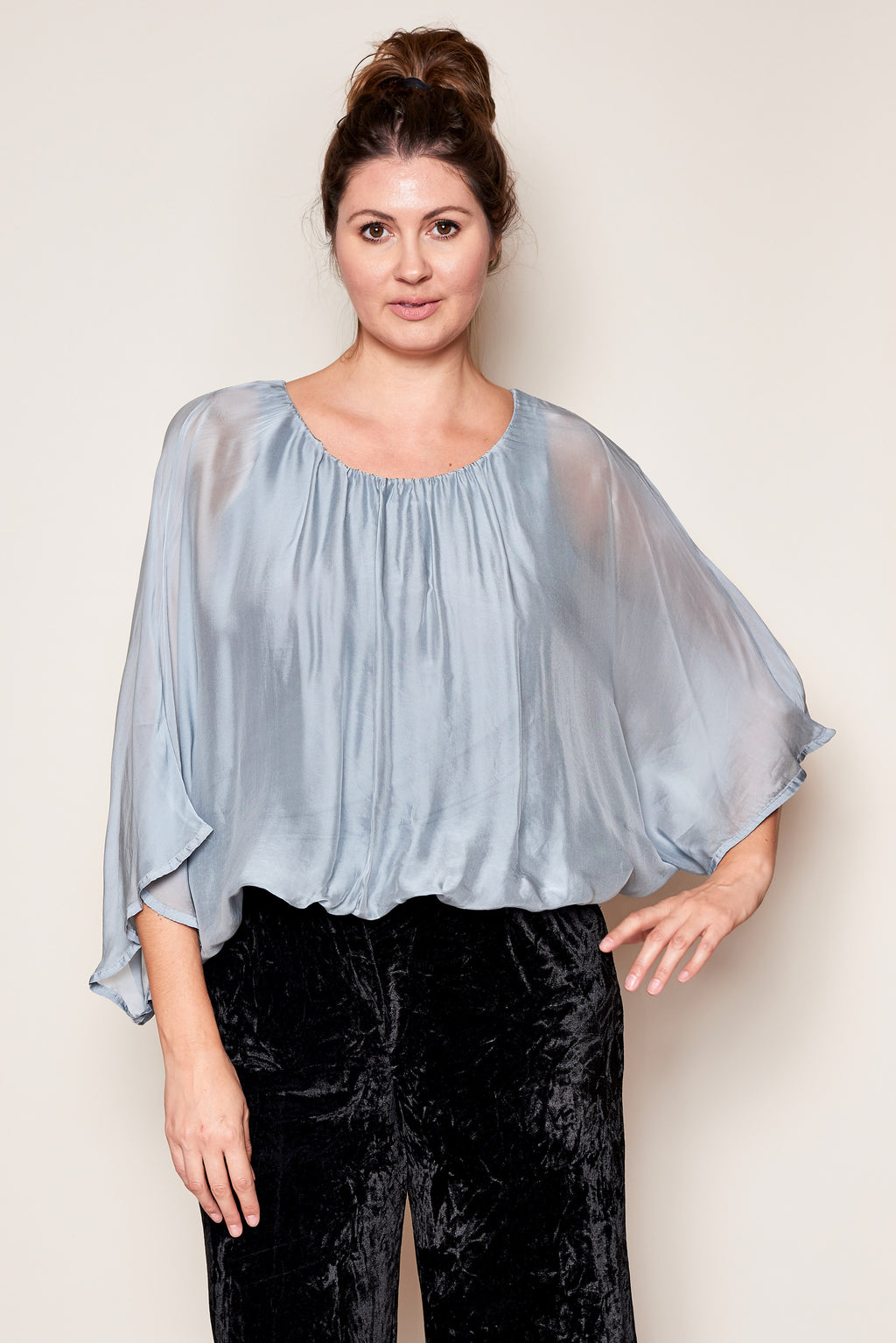 Italian Silk Dolman Sleeve Top - Jacqueline B Clothing