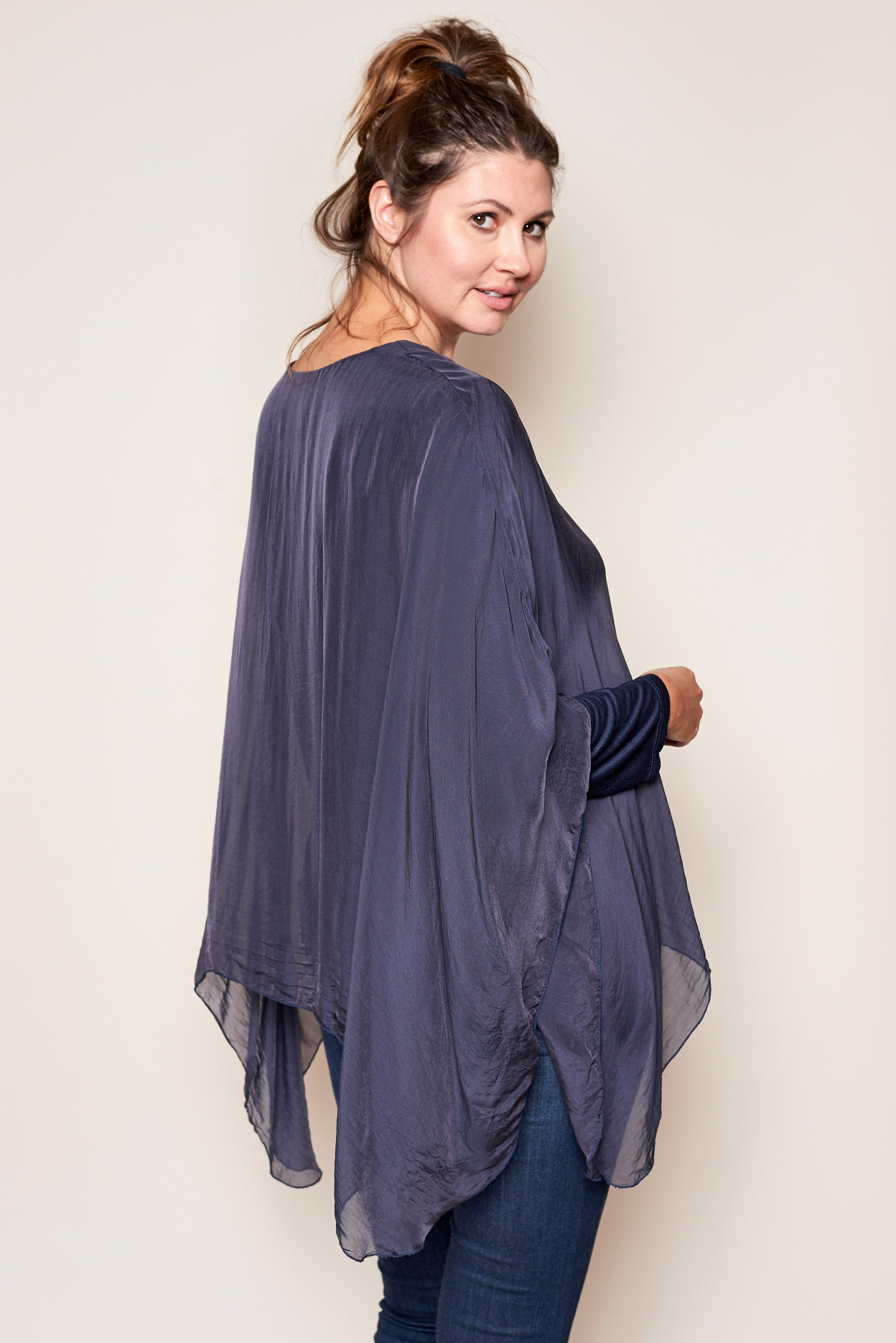Italian Silk Long Sleeve with Silk Overlay - Jacqueline B Clothing