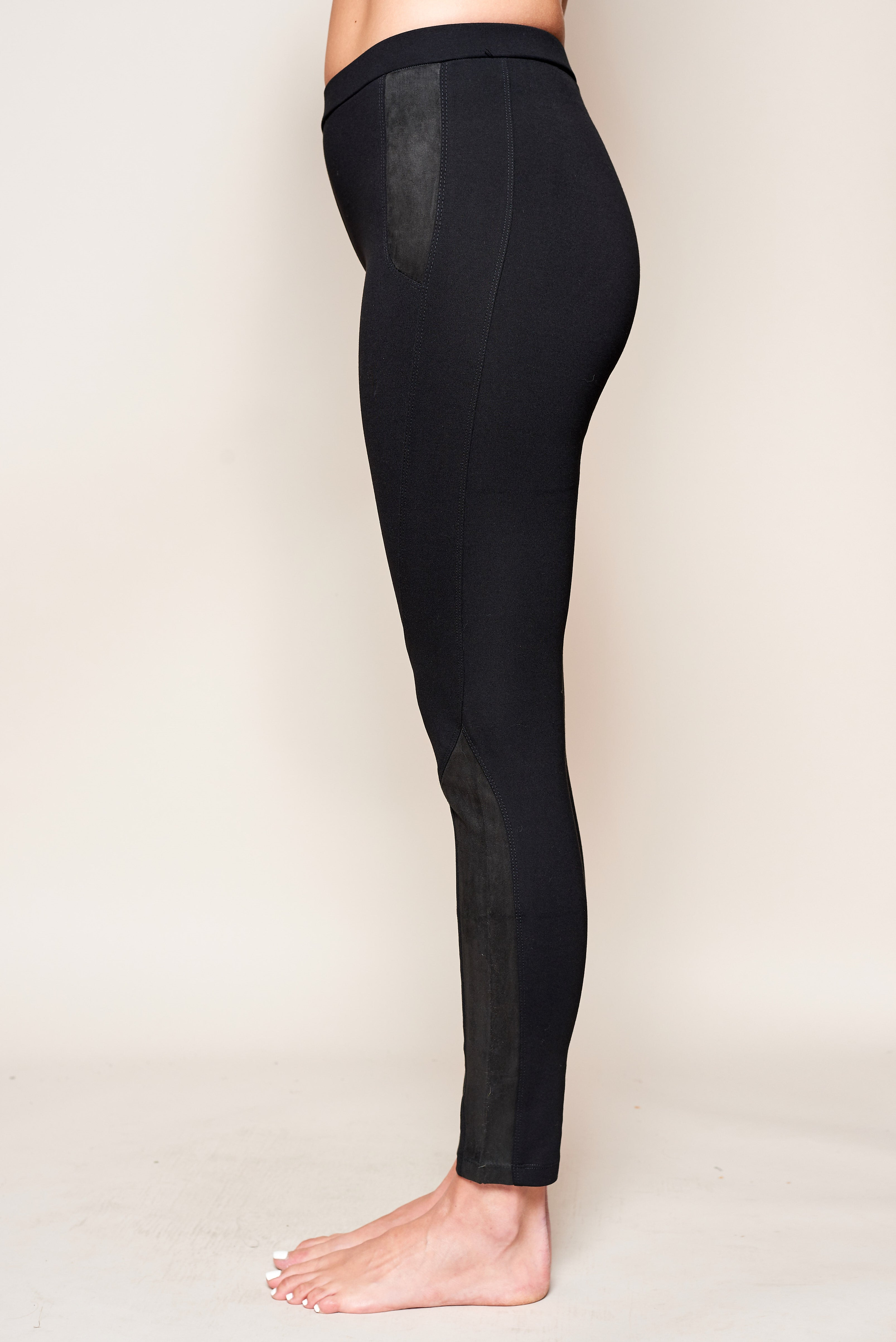 Lose 10 Lbs Leggings Suede Inset - Jacqueline B Clothing