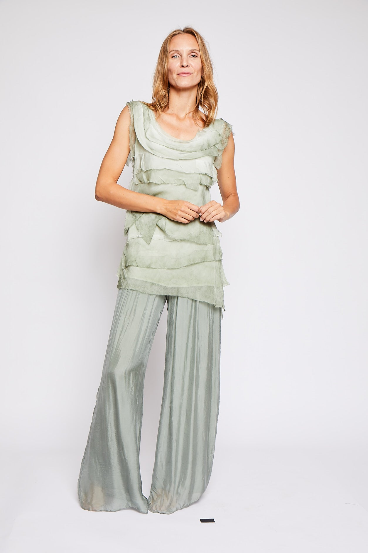 Italian Silk Layered Tank - Jacqueline B Clothing