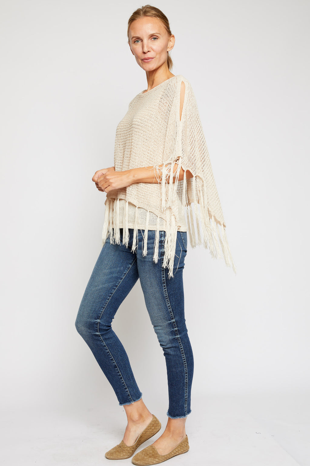 Fringe Sweater Cap Sweater - Jacqueline B Clothing