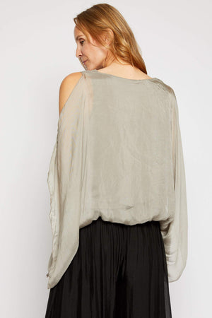 Italian Silk Cold Shoulder Top - Jacqueline B Clothing