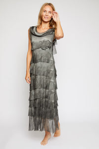 Italian Silk Long Layered Dress - Jacqueline B Clothing