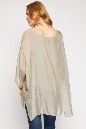 Italian Silk Glittered Highlight Sleeve - Jacqueline B Clothing