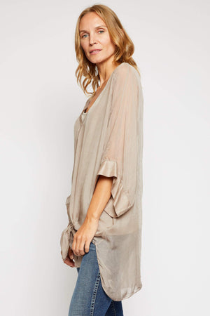 Italian Silk Button Up Blouse - Jacqueline B Clothing