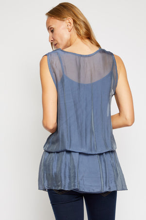 Italian Silk Sleeveless V-Neck Tunic - Jacqueline B Clothing