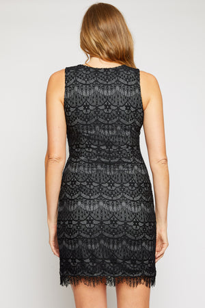Black Lace Sleeveless Dress - Jacqueline B Clothing