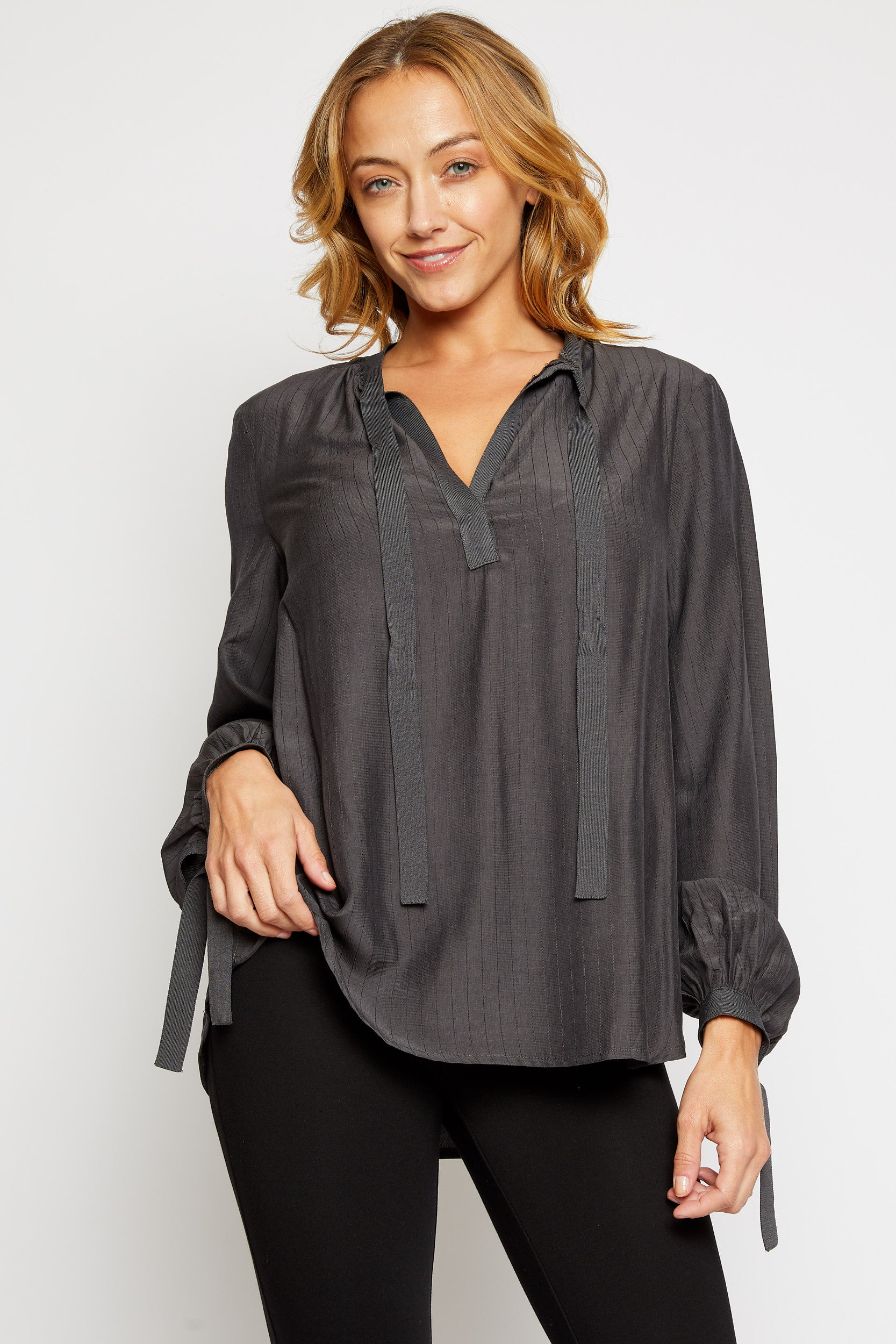 Rib Tie Long Sleeve Top - Jacqueline B Clothing