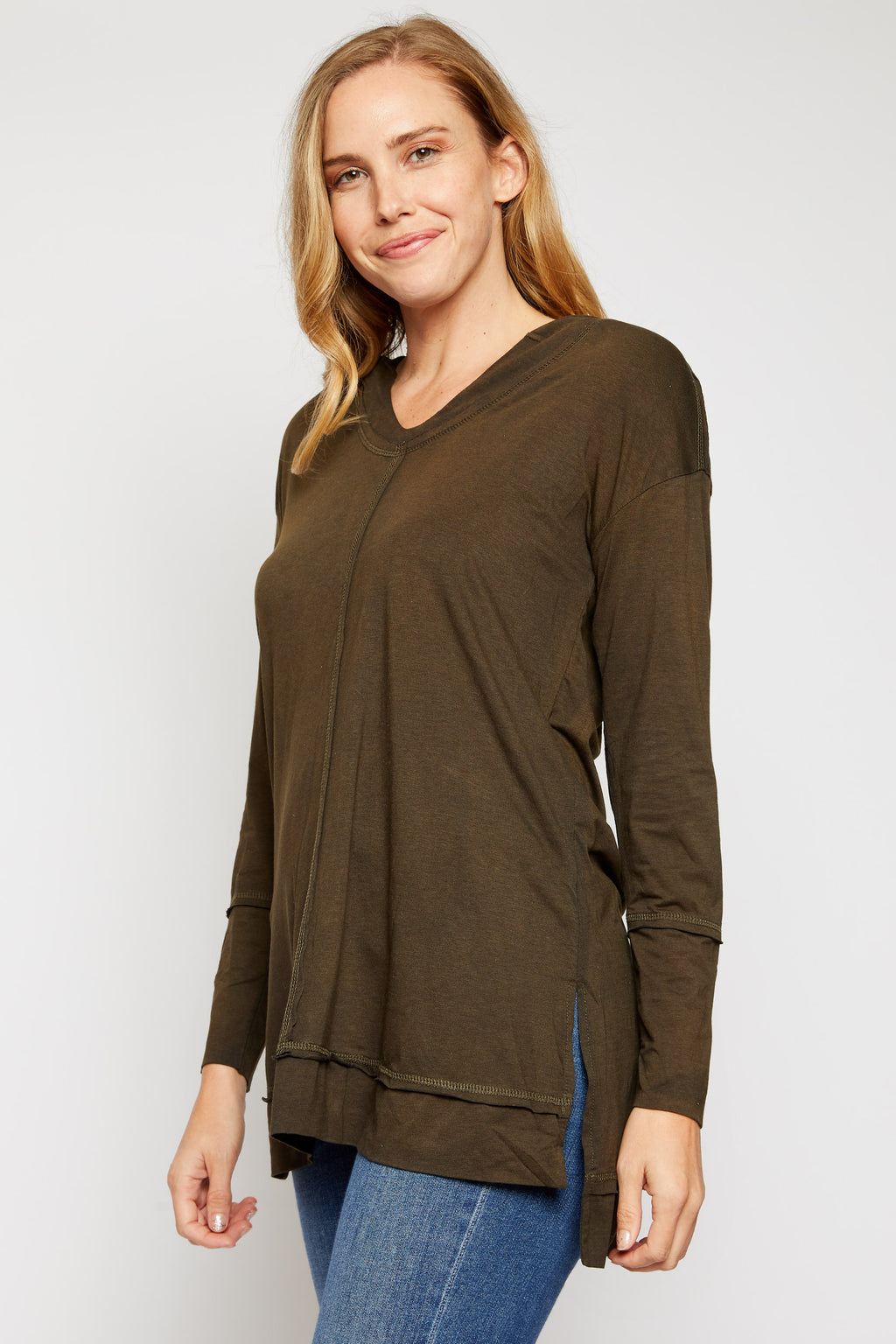 Long Sleeve Hooded Tunic Top - Jacqueline B Clothing