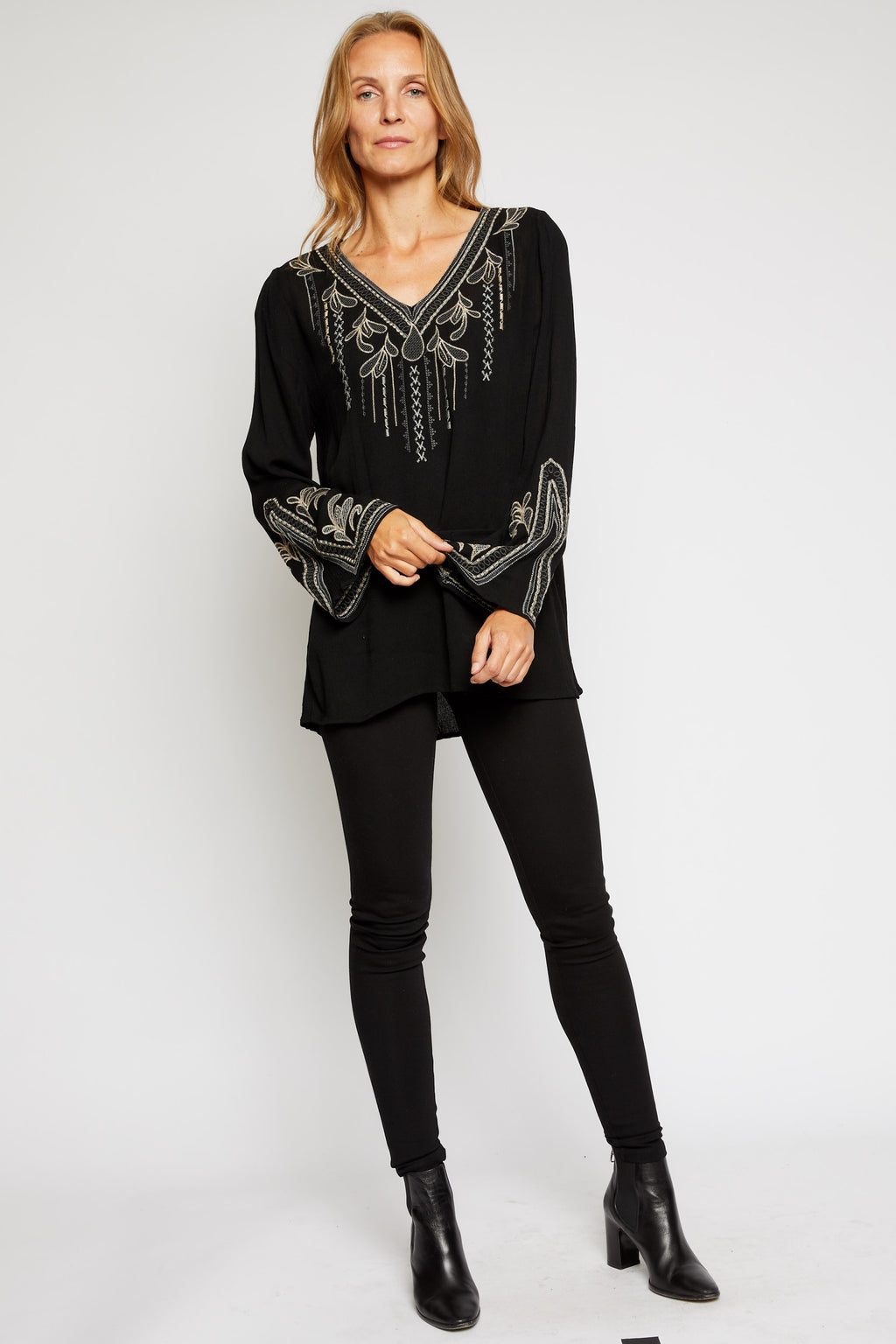 Long Sleeve Tunic Top w/ Embroidered Accents - Jacqueline B Clothing