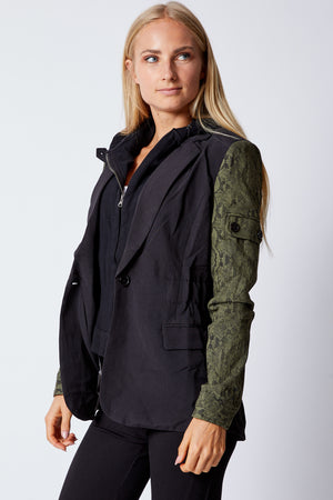 Zip-Out Hoodie Black/Olive Snake Jacket - Jacqueline B Clothing