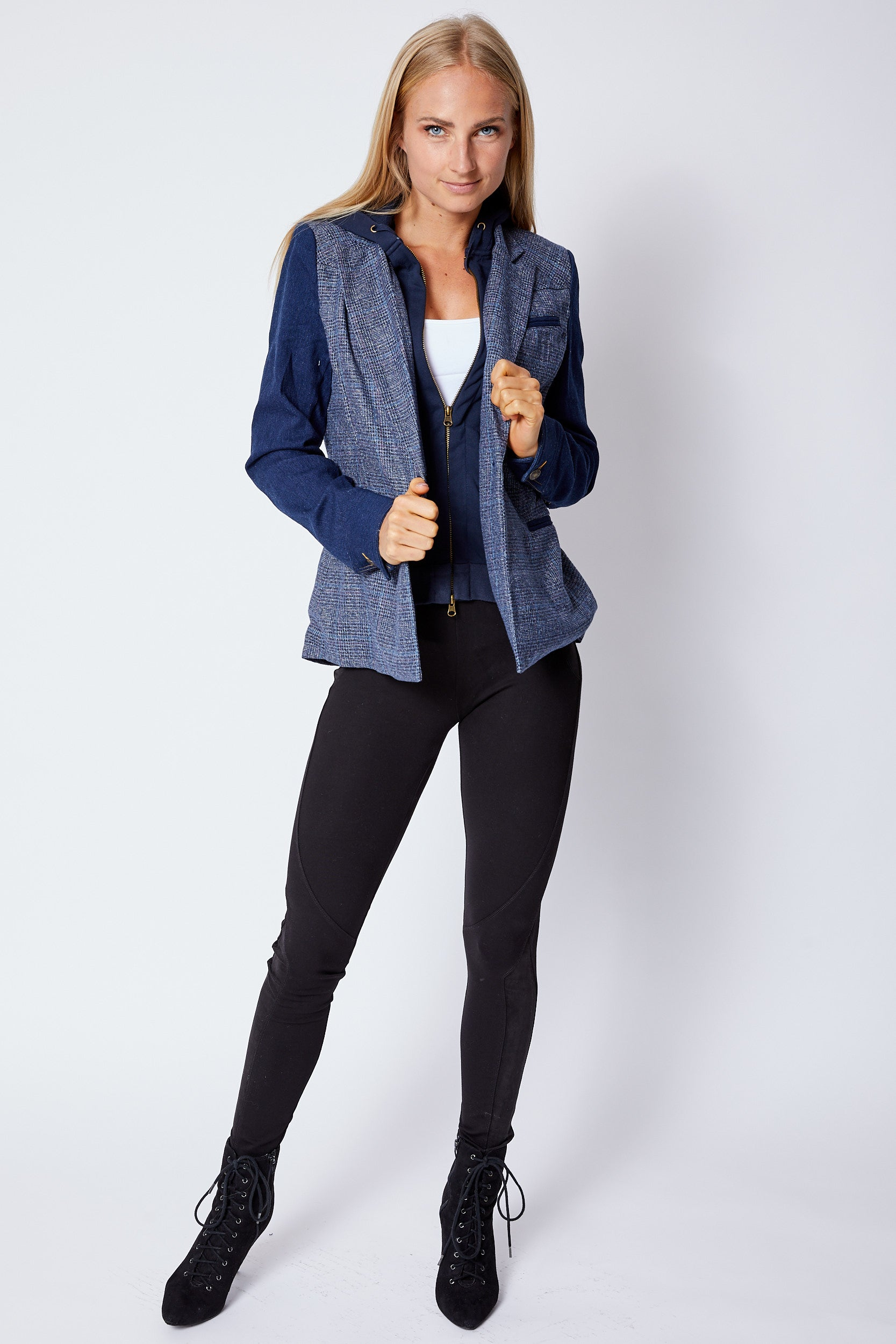 Blue Denim w/ Tweed Zip-Out Hoodie Jacket - Jacqueline B Clothing