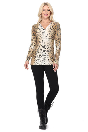 Leopard Ribbed Top - Jacqueline B Clothing