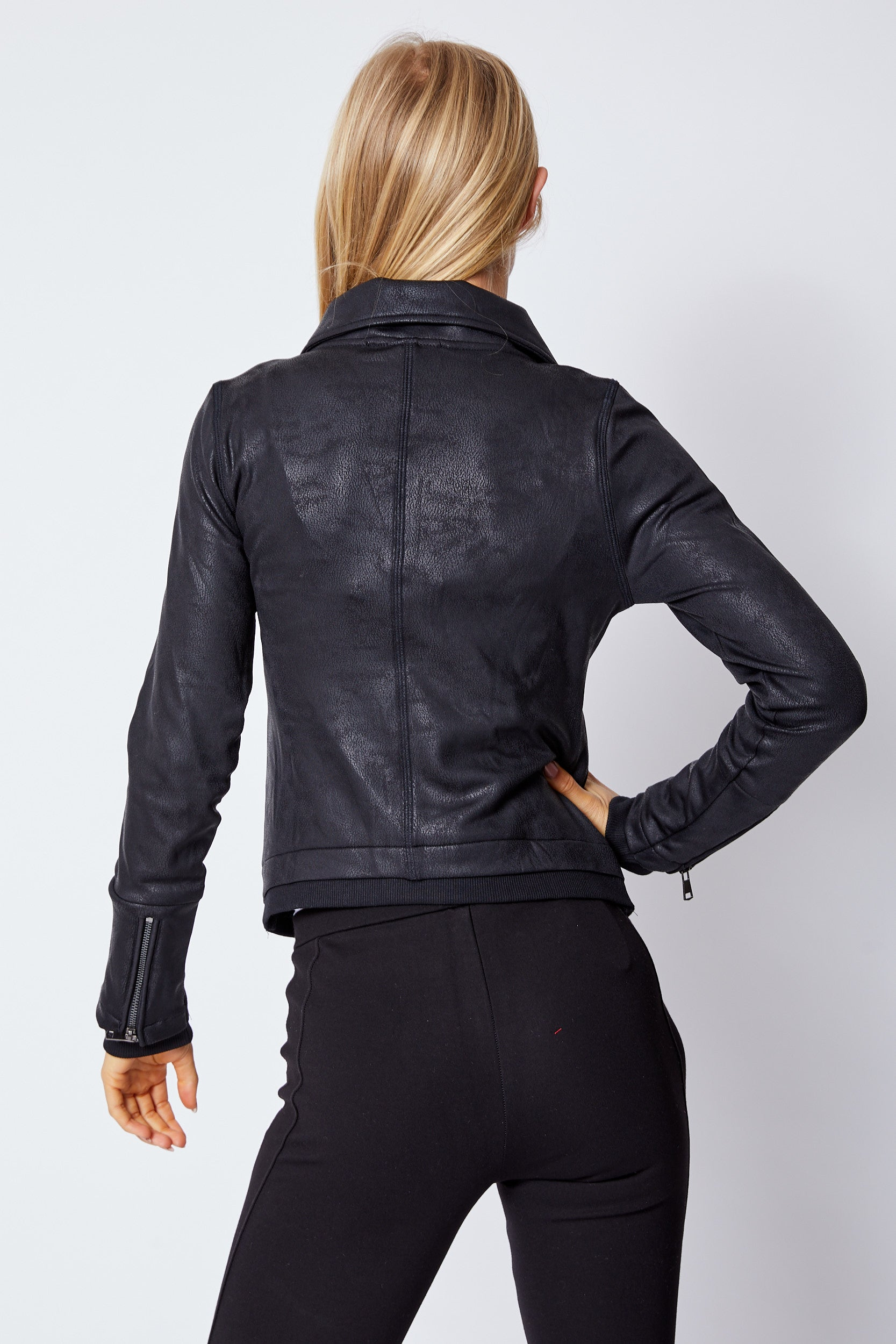 Moto Faux Leather Jacket - Jacqueline B Clothing
