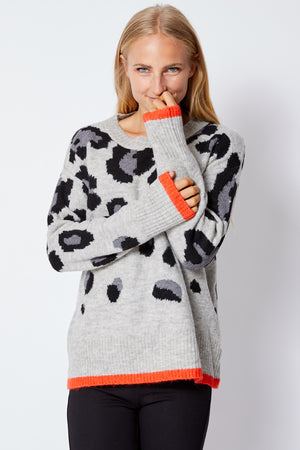 Gray/Black Sweater w/ Orange Trim - Jacqueline B Clothing