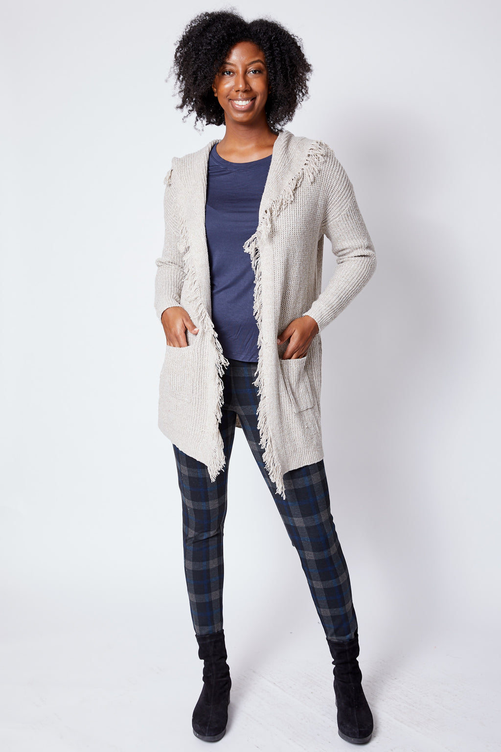 Fringed Cardigan Oatmeal - Jacqueline B Clothing