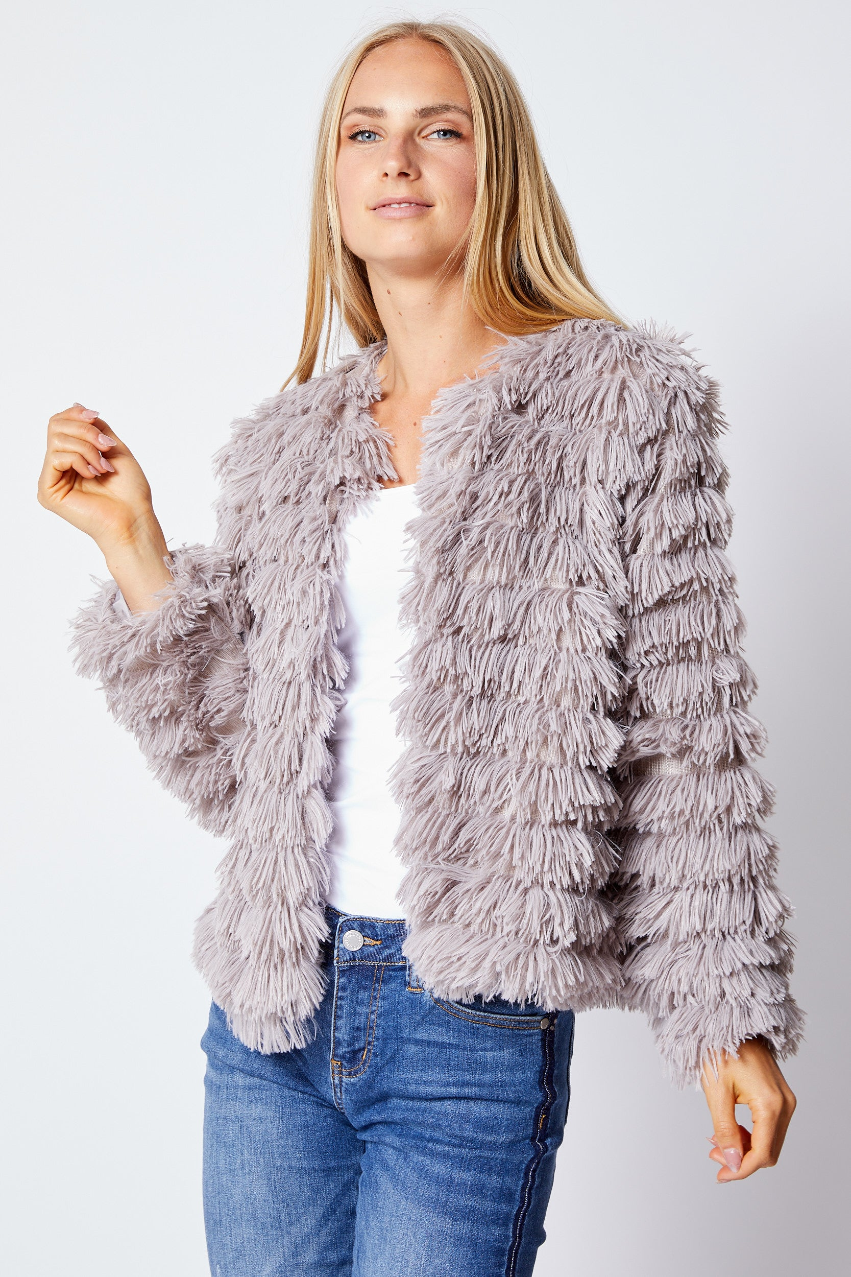 Fluffy Crop Jacket - Jacqueline B Clothing