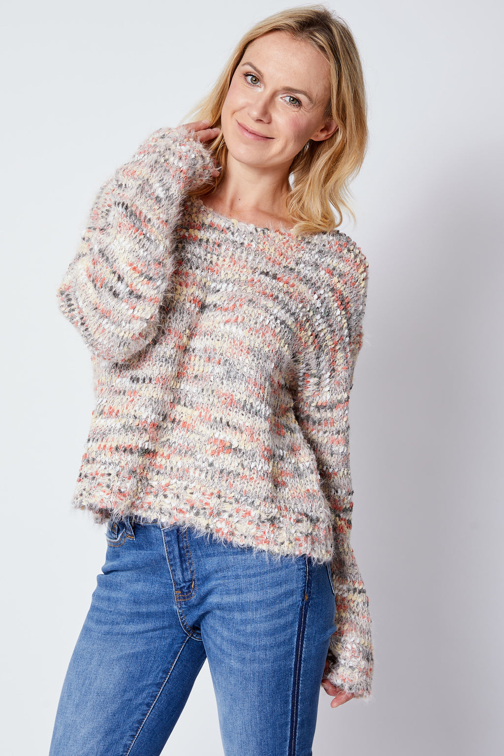 Multi Yarn Fuzzy Sweater - Jacqueline B Clothing
