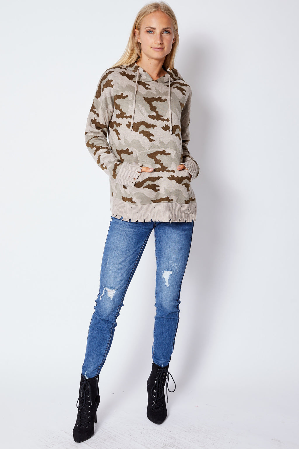 Camo Hoodie Rough Edge - Jacqueline B Clothing