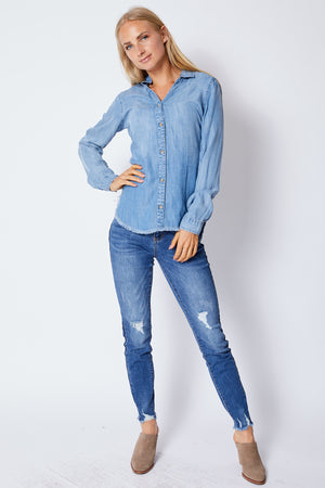 Denim Raw Edge Shirt - Jacqueline B Clothing