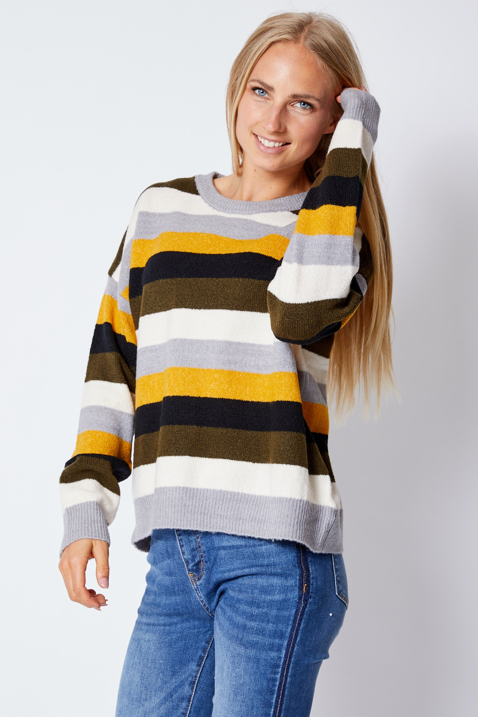 Olive Multi Striped Sweater - Jacqueline B Clothing