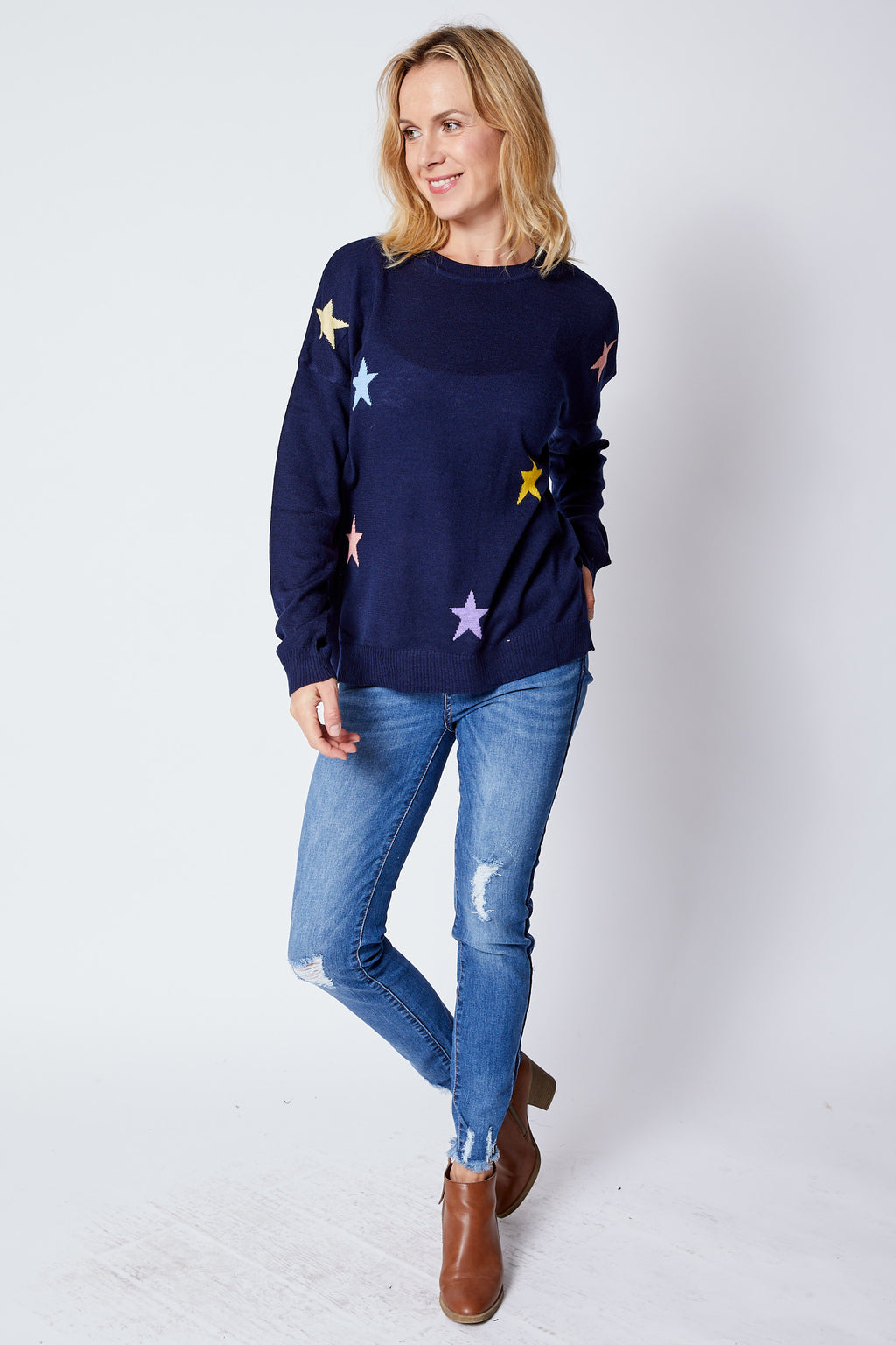 Navy Multi Color Star Sweater - Jacqueline B Clothing