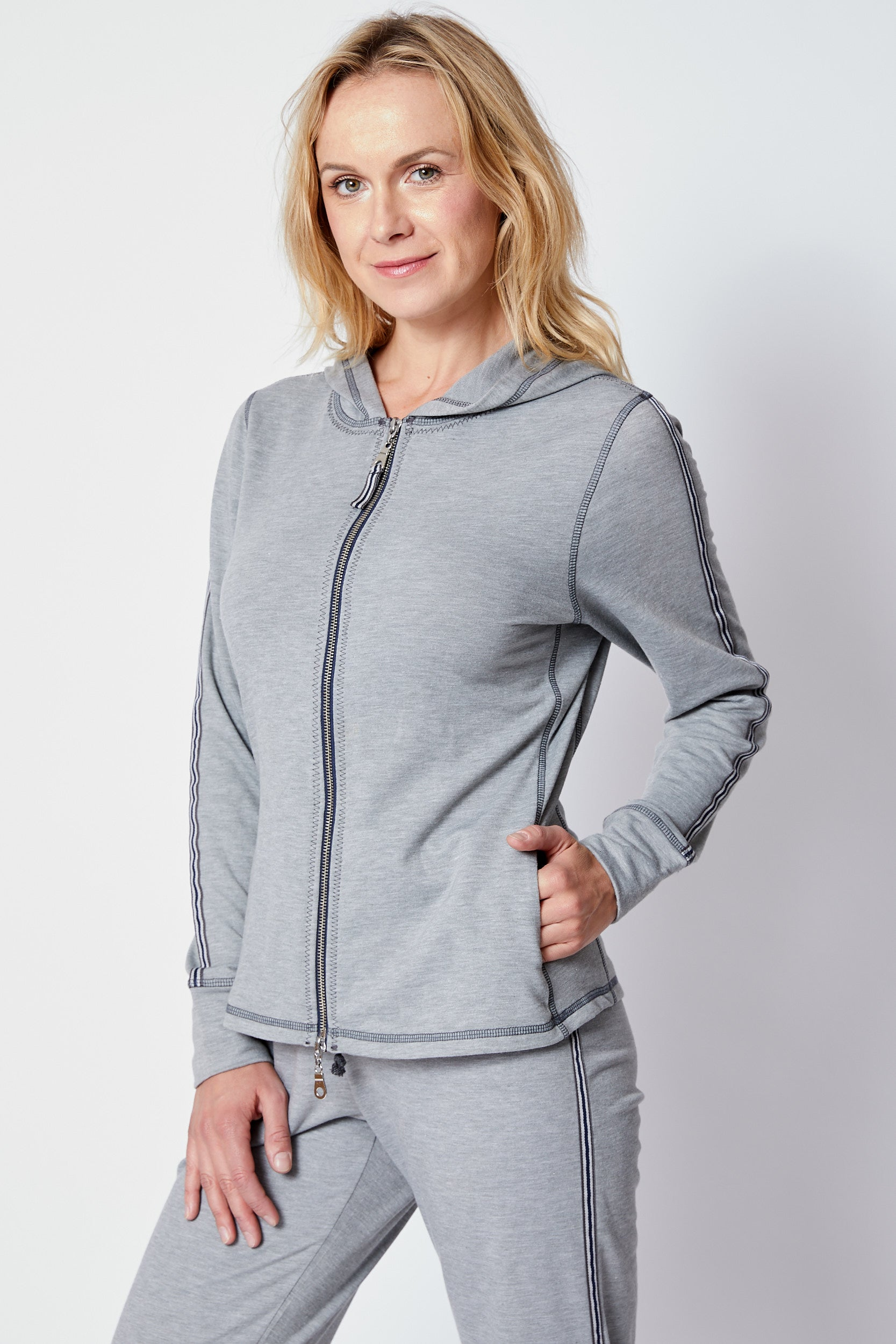 Gray Racer Stripe Sweats - Jacqueline B Clothing