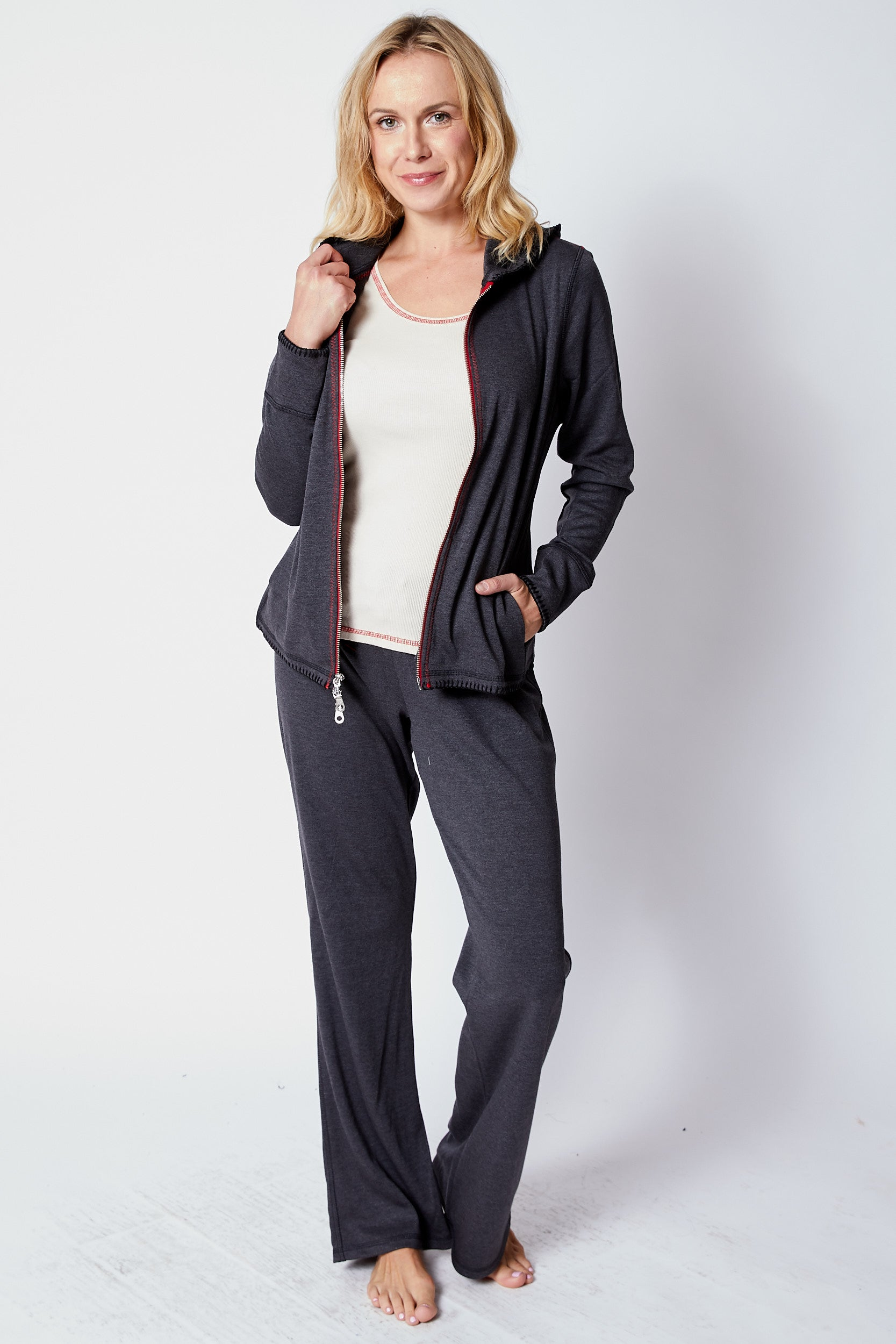 Charcoal/Red Sweats - Jacqueline B Clothing