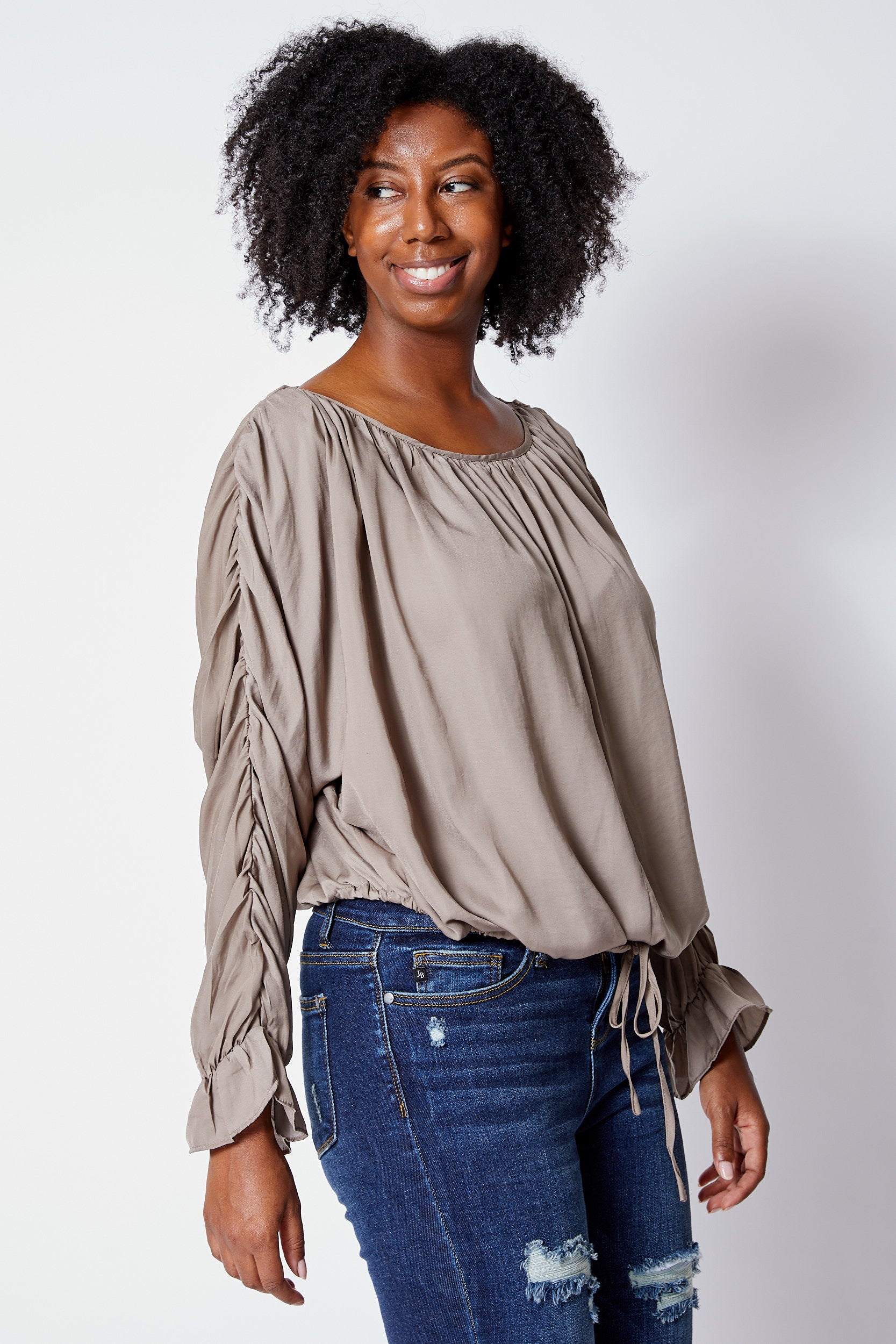 Gathered Sleeve Blouse - Jacqueline B Clothing