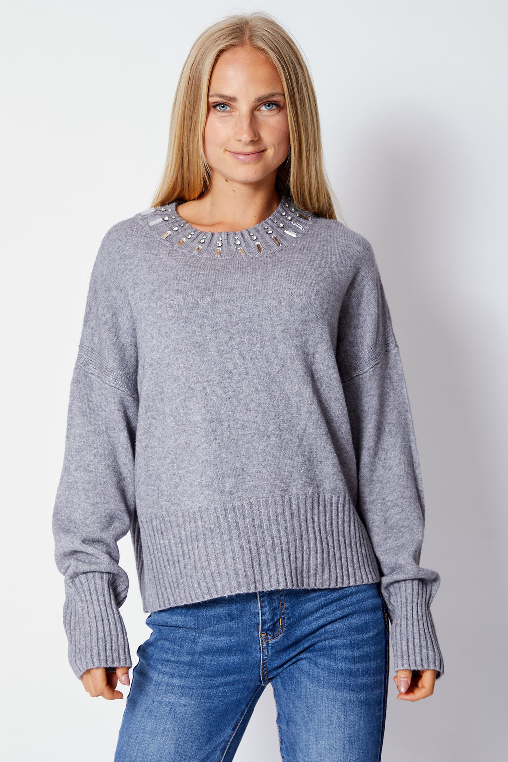 Gray Sweater w/ Rhinestone Collar - Jacqueline B Clothing