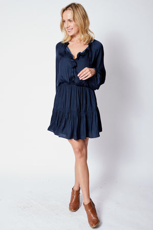 Long Sleeve Dress w/ Ruffled Front Top - Jacqueline B Clothing