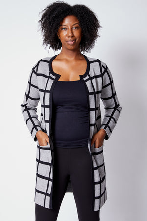 Geometric Gray/Black Sweater Coat - Jacqueline B Clothing