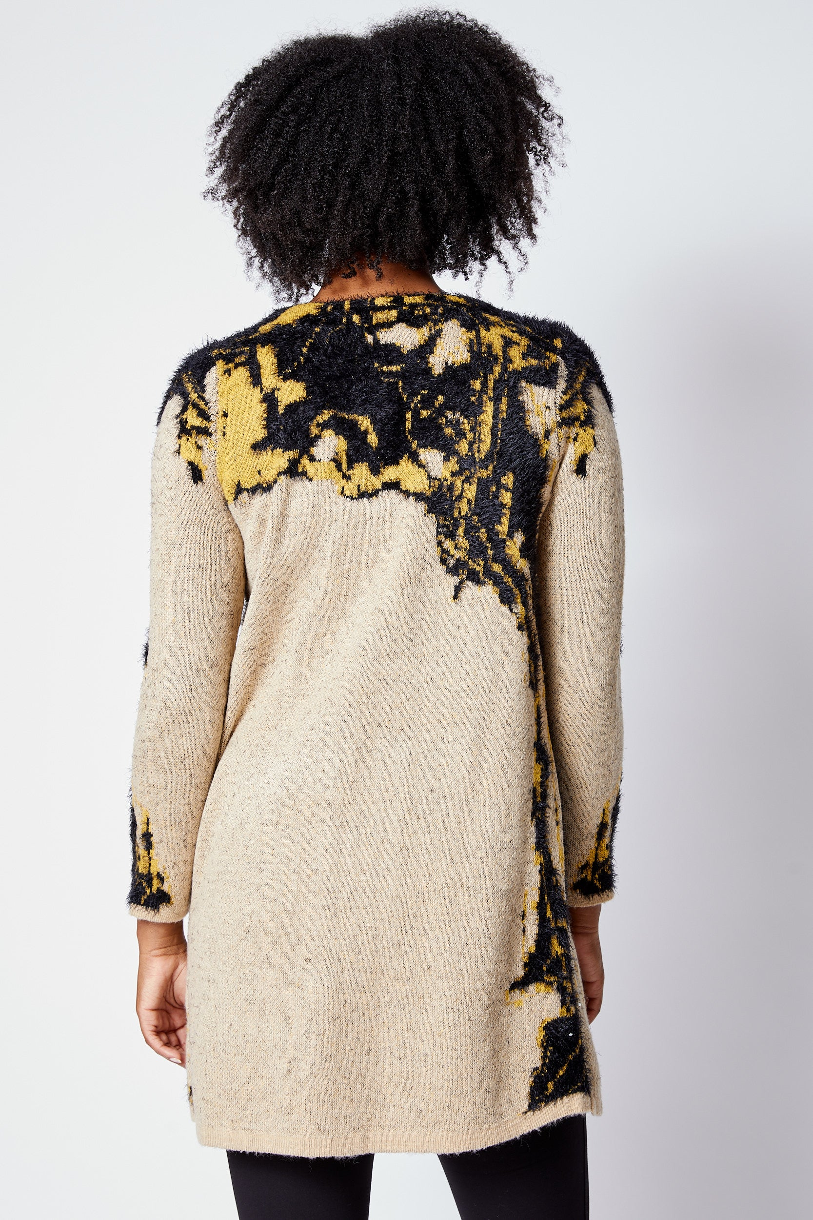 Golden Abstract Pattern Long Cardigan - Jacqueline B Clothing