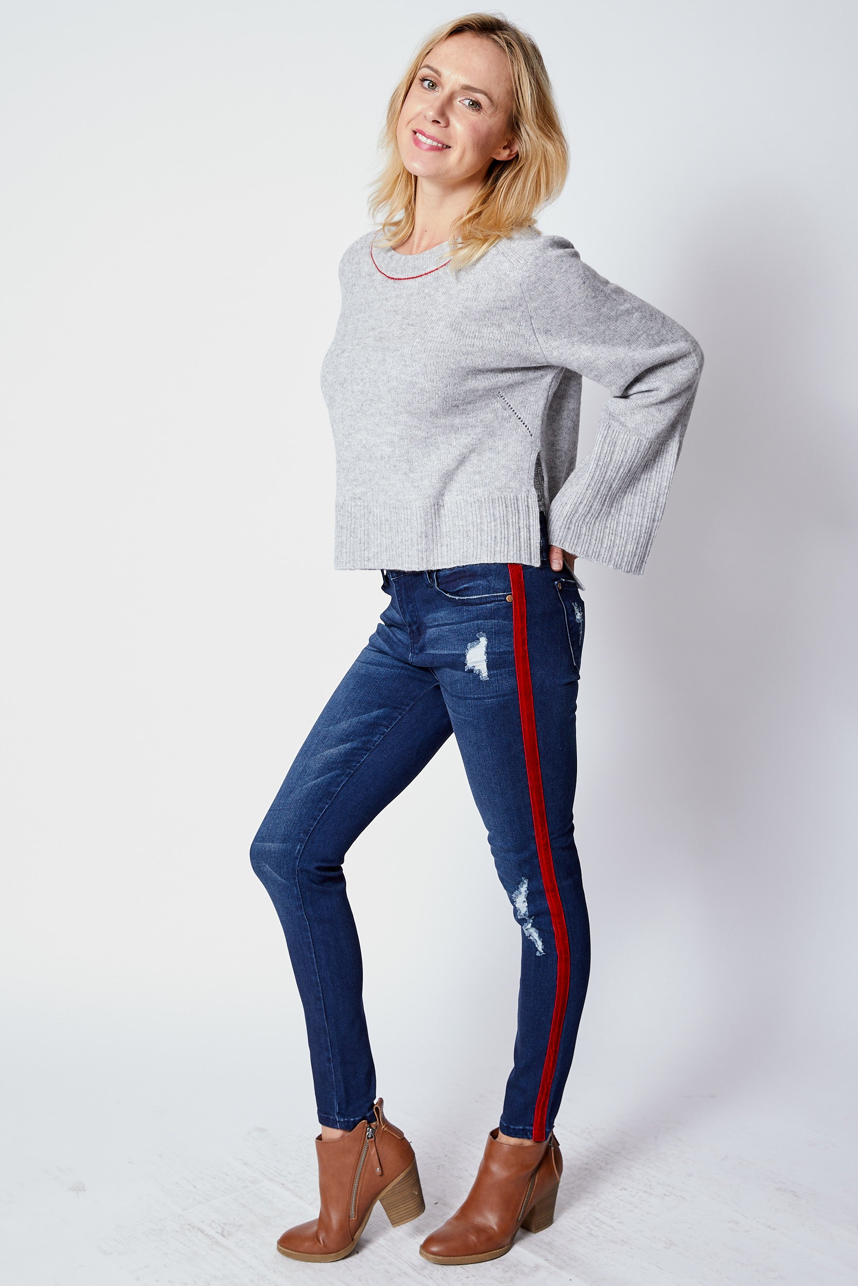 Jeans w/ Red Velvet Stripe - Jacqueline B Clothing