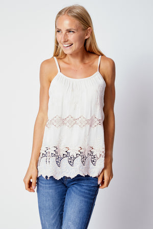 Italian Silk White Lace Tank - Jacqueline B Clothing
