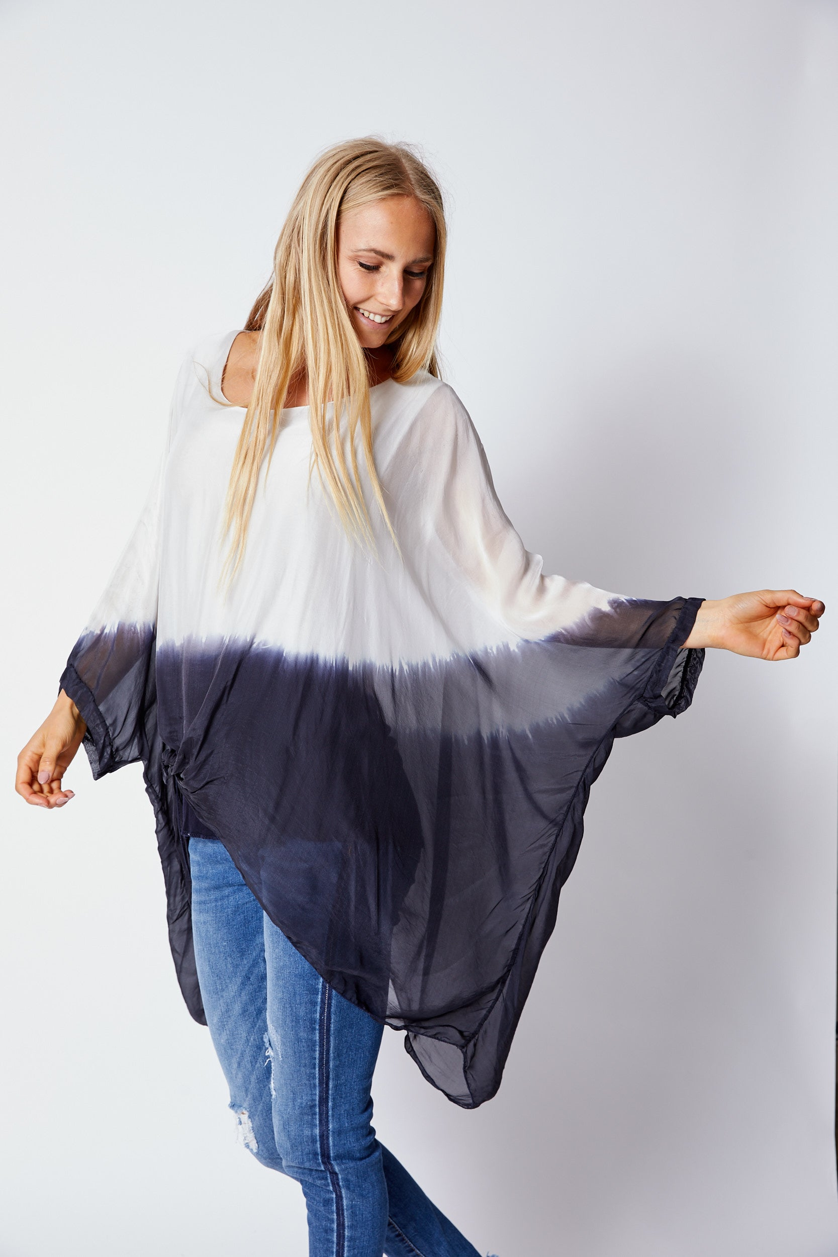 Italian Silk Dip Dye Top - Jacqueline B Clothing