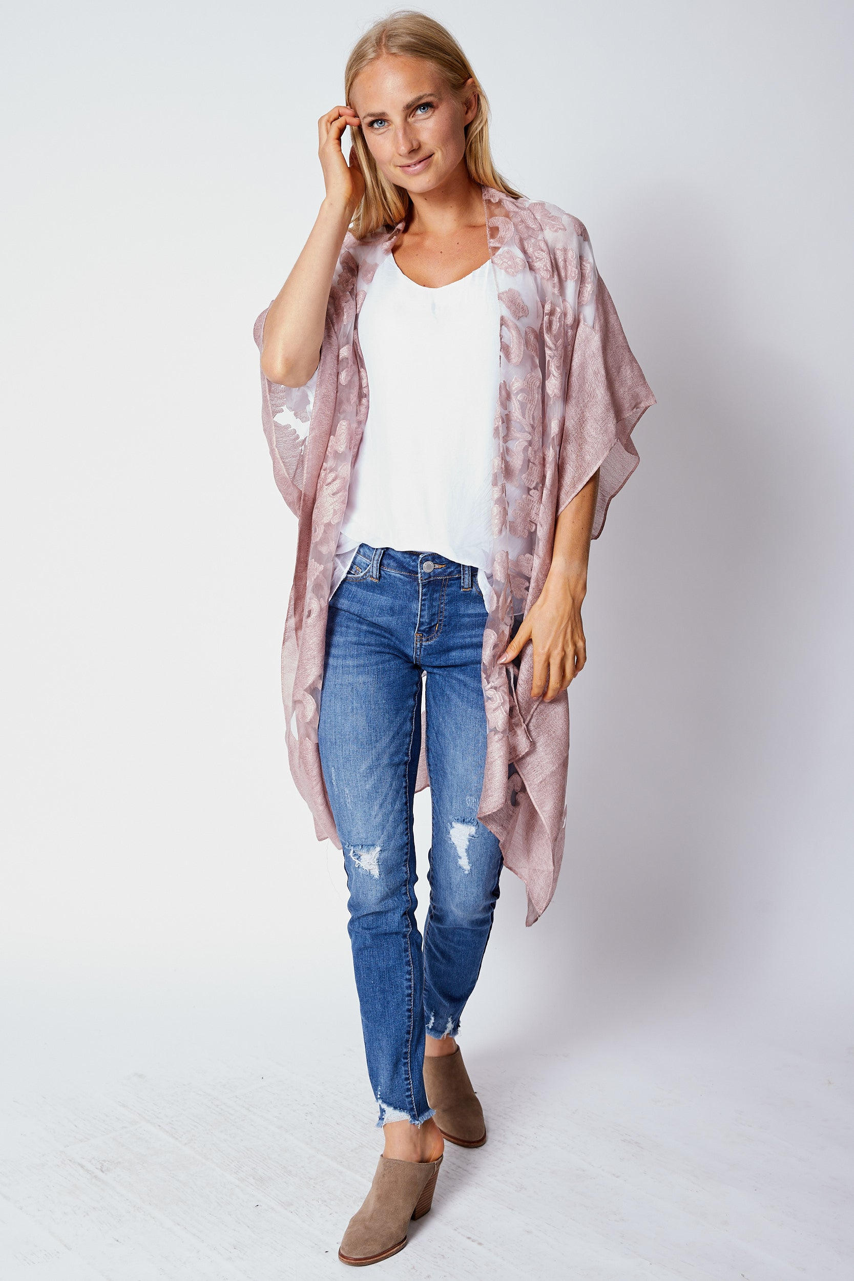 Burn-Out Rose Wrap - Jacqueline B Clothing
