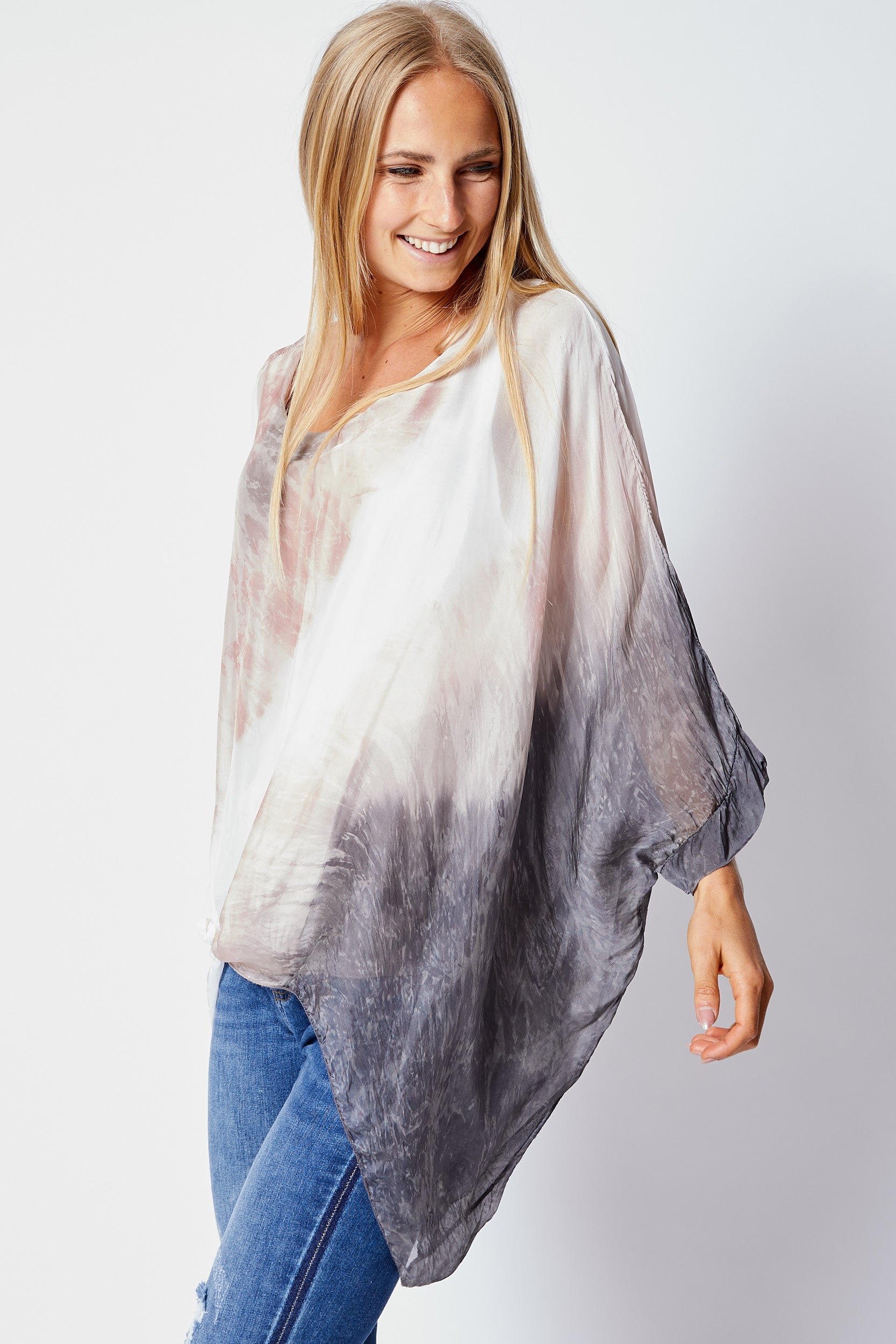 Italian Silk Tie-Dye Top - Jacqueline B Clothing