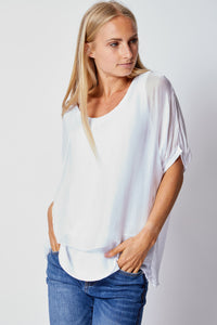 Italian Silk Sequin Trim Tee - Jacqueline B Clothing
