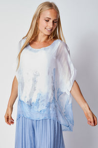 Italian Silk Hand Painted Tee - Jacqueline B Clothing
