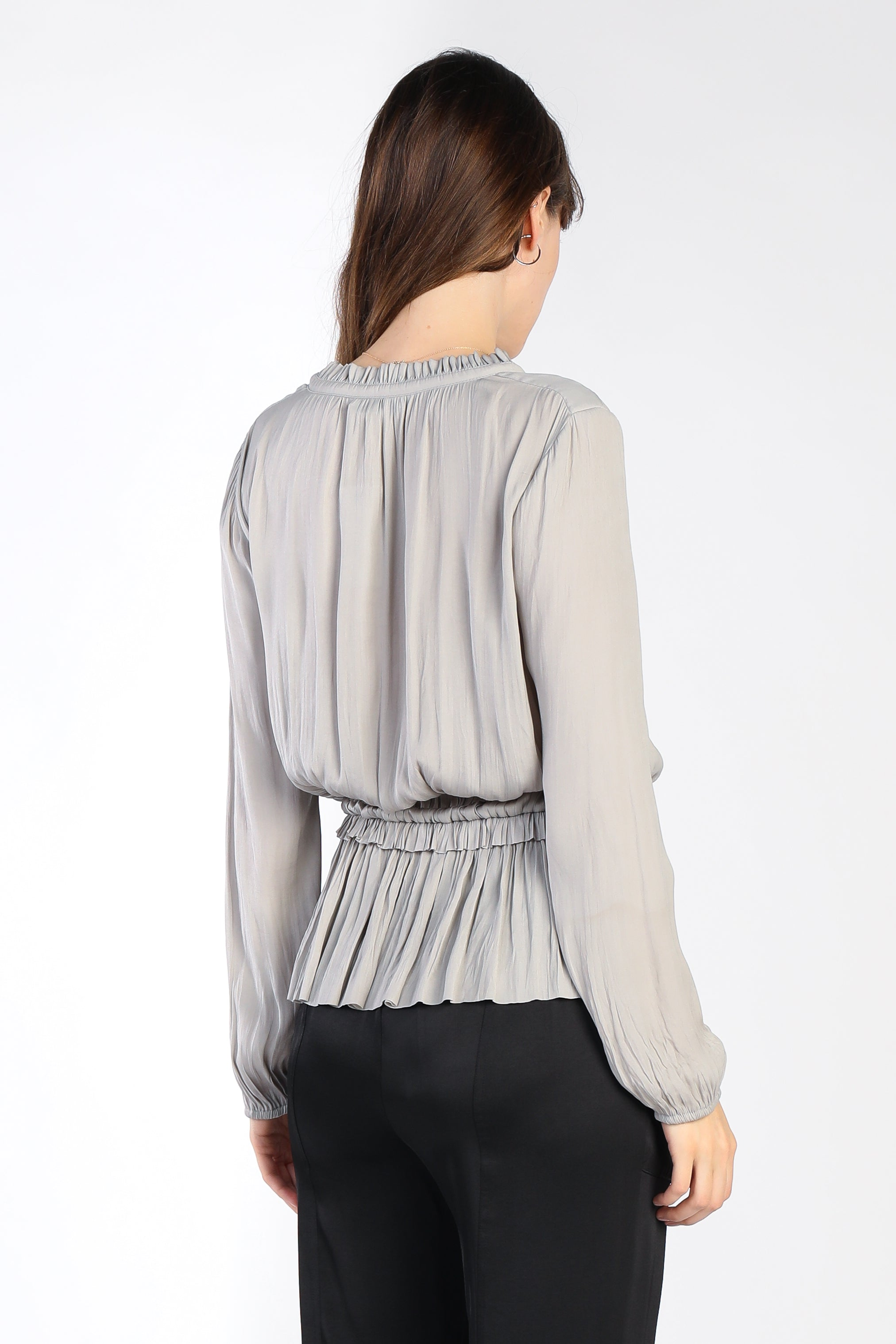 Long Sleeve V Neck Pleated Bottom Blouse - Jacqueline B Clothing