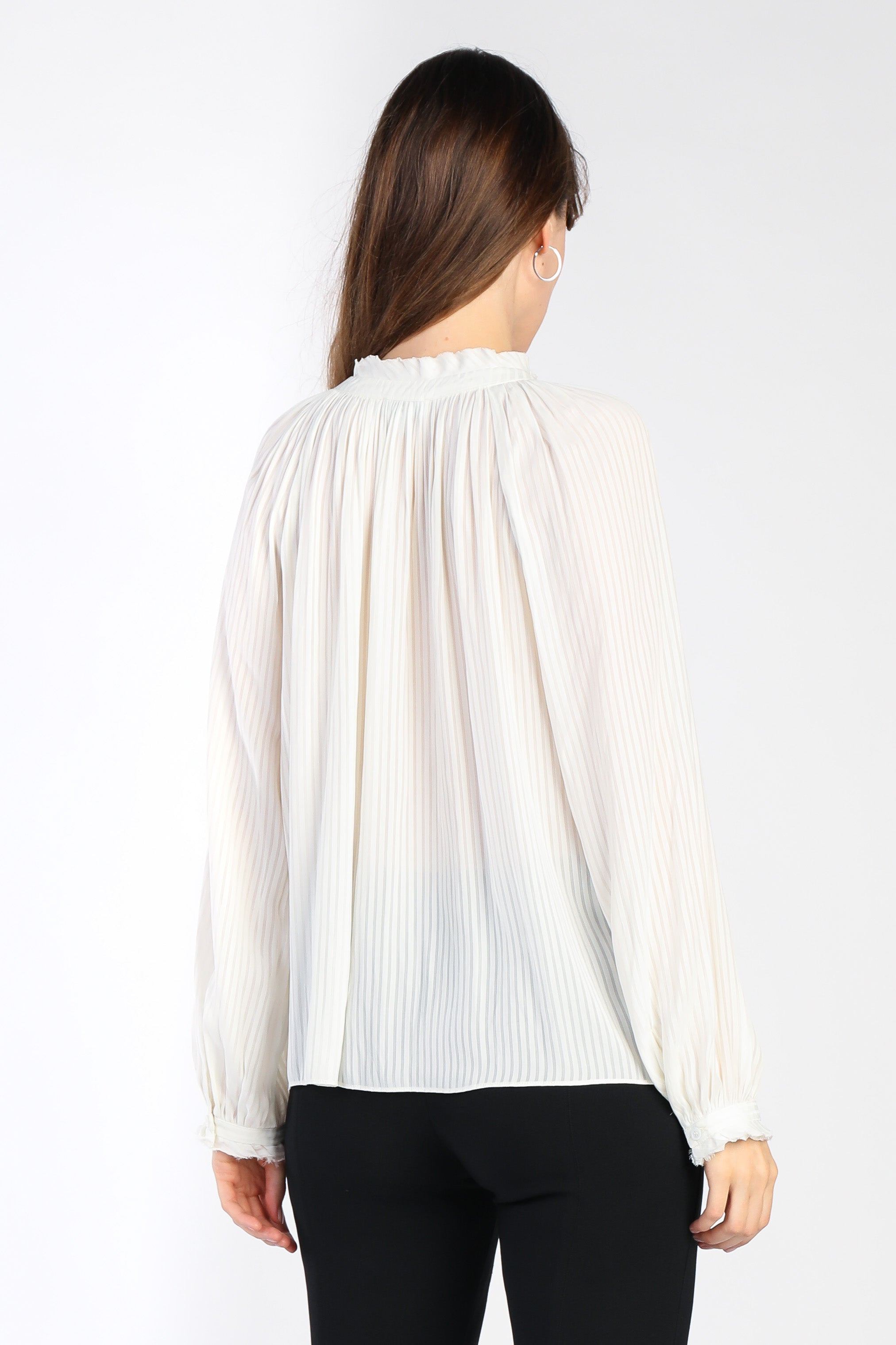 Long Sleeve Striped Keyhole Blouse - Jacqueline B Clothing