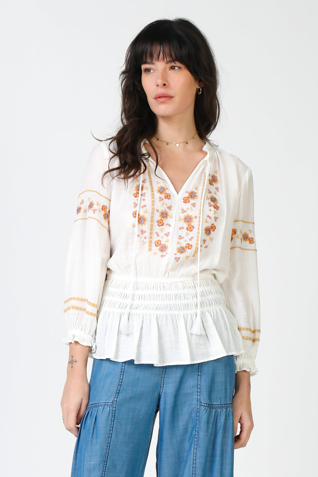 Embroidered Long Sleeve Top w/ Smocked Waist - Jacqueline B Clothing