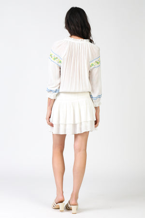 Drop Waist Embroidered Long Sleeve Dress - Jacqueline B Clothing