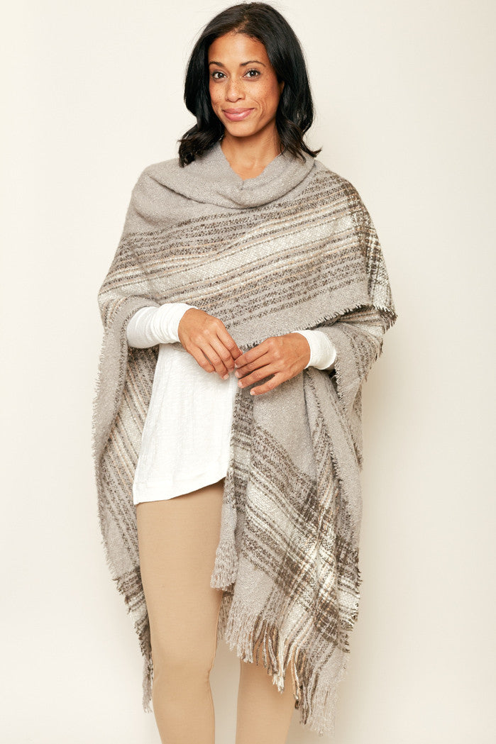 Soft and Luxurious Wrap Around Sweater Poncho - Jacqueline B Clothing