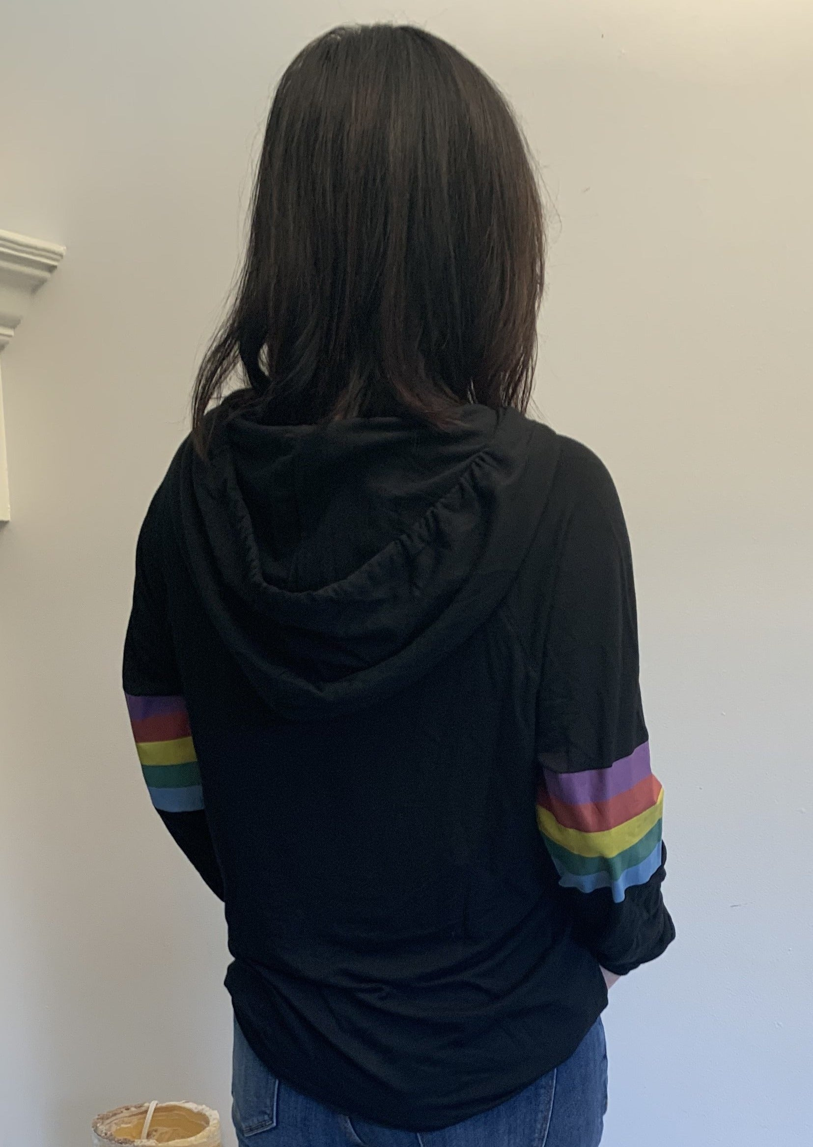 Black Rainbow Sleeve Hoodie - Jacqueline B Clothing